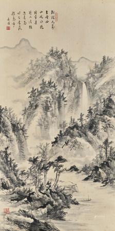吳傑(近現代) 山間泛舟圖