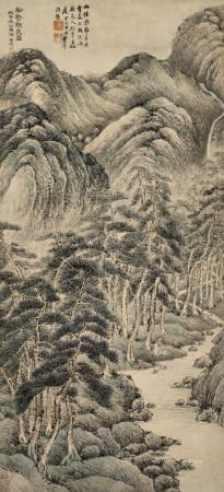 葉欣(清) 松壑觀泉圖