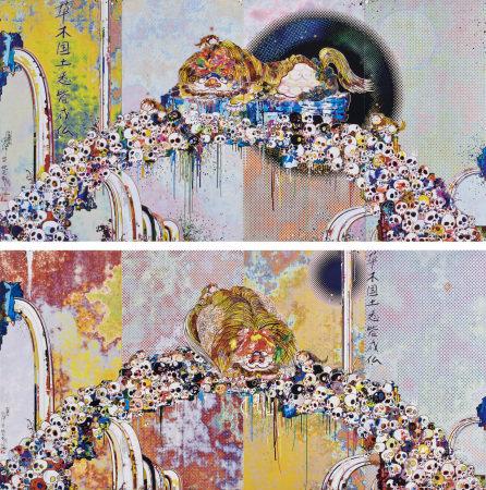 村上隆(B.1962)獅子牡丹骷髏泉;福臨之獅(二件一組)