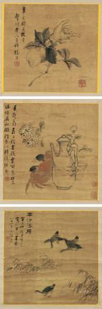 張熊(1803-1886)花鳥三幁立軸