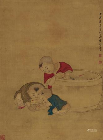 方堃(生卒年不詳)戲魚圖