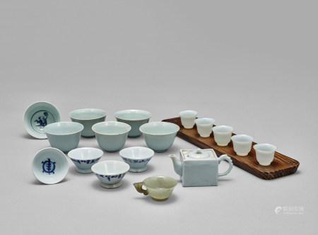 白磁青花煎茶器一套