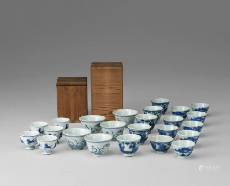 清 青花煎茶碗24点