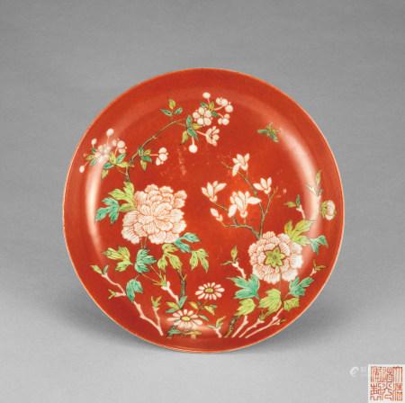 清道光 珊瑚紅釉牡丹紋盤