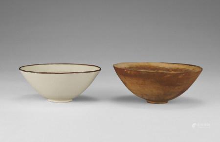 白釉印花碗等兩件