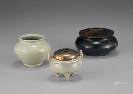 青釉香爐小罐等三件
