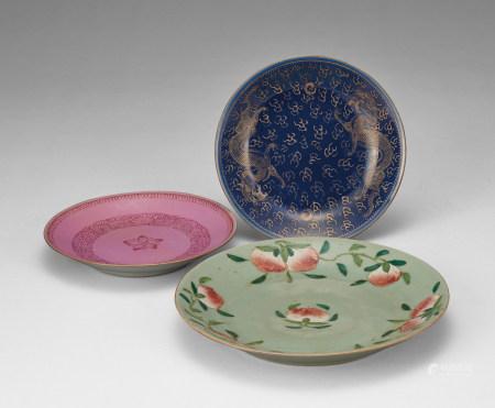 粉彩盤三件
