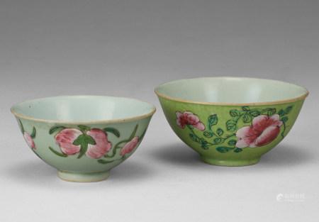 粉彩碗兩件