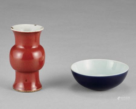 藍釉碗 紅釉花瓶