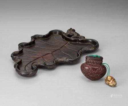 木製嵌銀絲茶盆 石墜蛐蛐盒