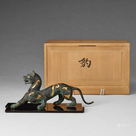 漢代 青銅錯金豹形擺件