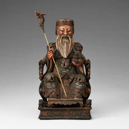 清代 木雕加彩高僧像