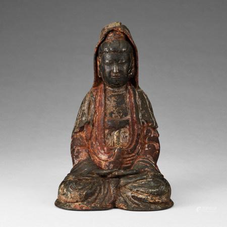 清代 銅製加彩觀音坐像