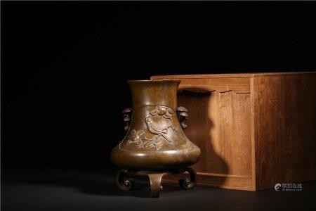 銅靈芝耳花鳥瓶