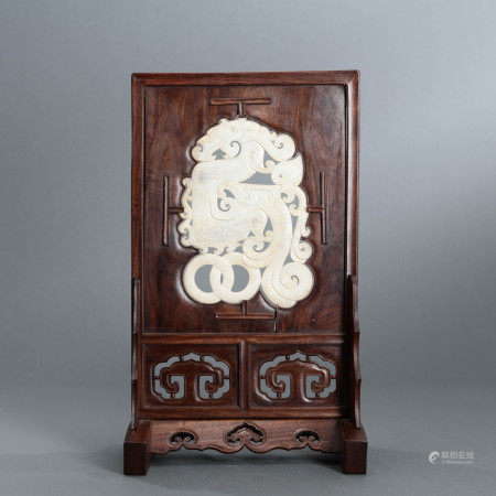White Jade Inlaid Rosewood Table Screen