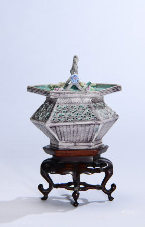 Porcelain Basket with Stand