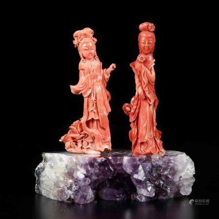 Two carved coral figures, China, early 1900s