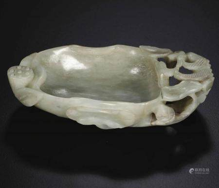 A Celadon jade bowl, China, Qing Dynasty