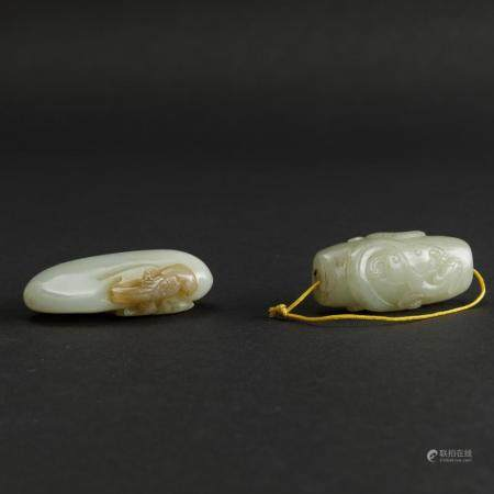 Two jade pendants, China, Qing Dynasty, 1800s