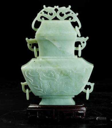 A jade vase with lid, China