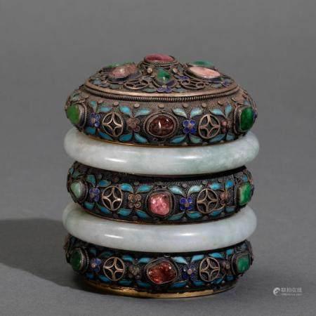 A silver filigree tea box, China, Qing Dynasty, 1800s