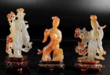 Three agate figures, China, 1900s