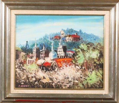油畫 花海之城 框