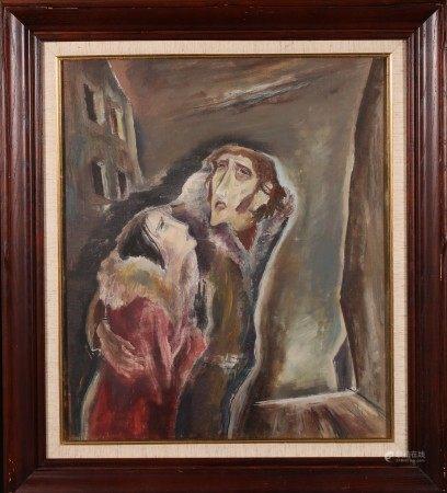 油畫 戀人 框