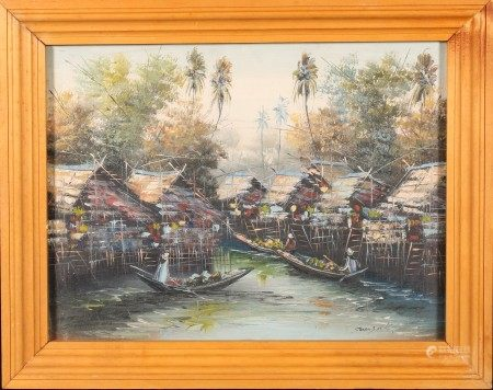 油畫 水上集市 框