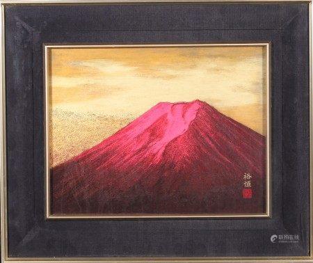 油畫 富士之巔 框