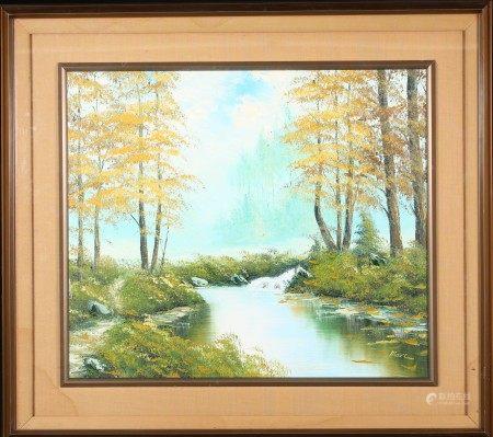 油畫 河畔 框