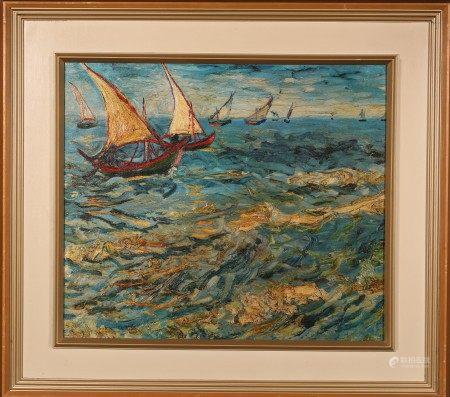 油畫 起帆 框