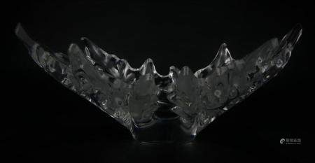 """LALIQUE CHAMPS-ELYSEES 18"""" FROSTED CRYSTAL BOWL"""