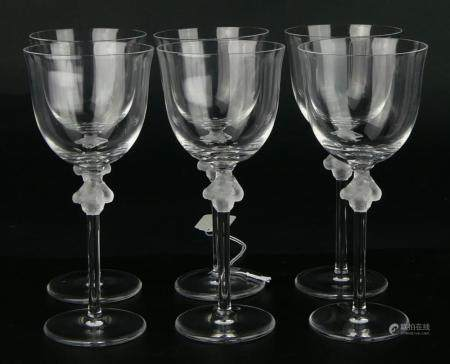 LALIQUE ROXANE (6) WINE GLASSES SIGNED