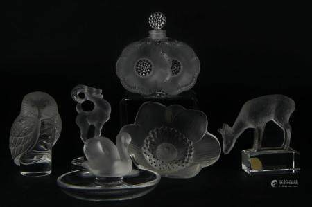 LOT OF (6) LALIQUE SIGNED CRYSTAL OBJECTS D'ART