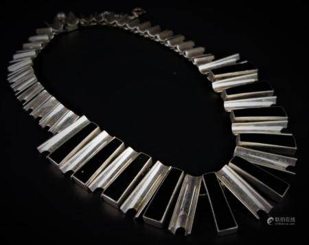 VINTAGE MEXICAN STERLING & ONYX NECKLACE