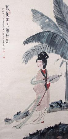 近現代 傅抱石 神女(附證書)