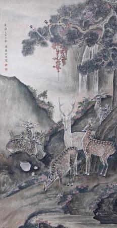 清代 沈銓 鹿壽圖
