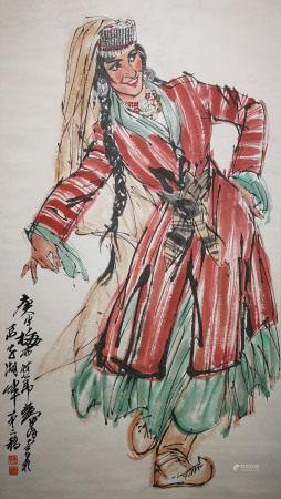 近現代 黃胄 南疆歌舞