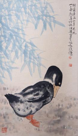 近現代 徐悲鴻 鵝(附證書及影像資料)