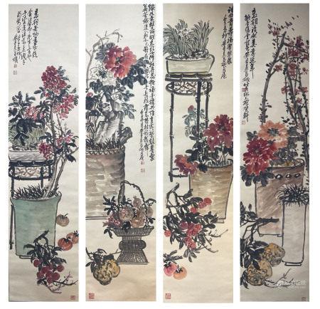 近現代 吳昌碩 花卉四條屏