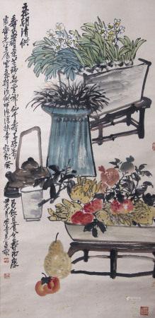 近現代 吳昌碩 花卉清供