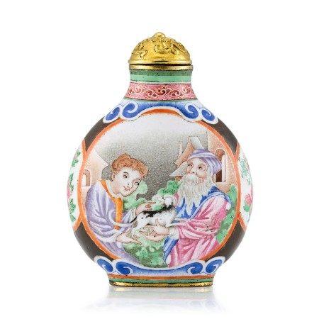 A Canton Enamel 'European Subject' Snuff Bottle Mark and Period of Qianlong   清乾隆 銅胎廣東畫琺瑯西洋人物圖鼻煙壺 《乾隆年製》款