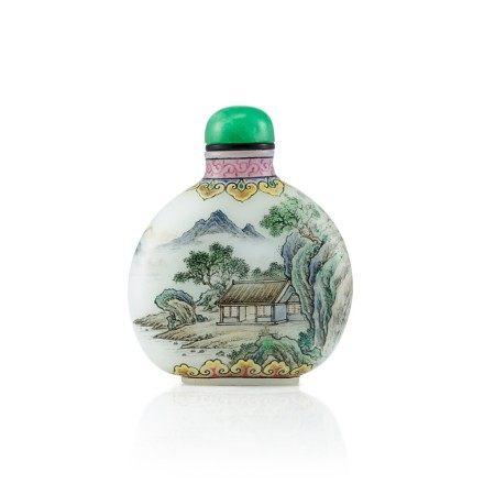 An Enamel on White Glass 'Landscape' Snuff Bottle By Wang Xisan, Circa 1962-65   約1962-65年 王習三作料胎畫琺瑯山水圖鼻煙壺 《乾隆年製》仿款