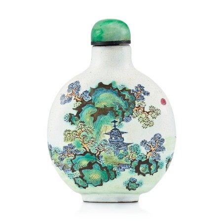 An Enamelled Yixing 'Landscape' Snuff Bottle Qing Dynasty, 19th Century   清十九世紀 宜興紫砂胎畫彩山水圖鼻煙壺