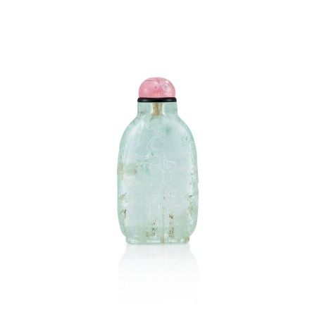 An Aquamarine 'Three Friends of Winter' Snuff Bottle Qing Dynasty, 18th - 19th Century   清十八至十九世紀 海藍寶雕歲寒三友圖鼻煙壺