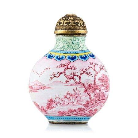 A Beijing Enamel 'Ruby Landscape' Snuff Bottle Mark and Period of Jiaqing   清嘉慶 銅胎北京畫琺瑯胭脂紅山水人物圖鼻煙壺 《嘉慶年製》款