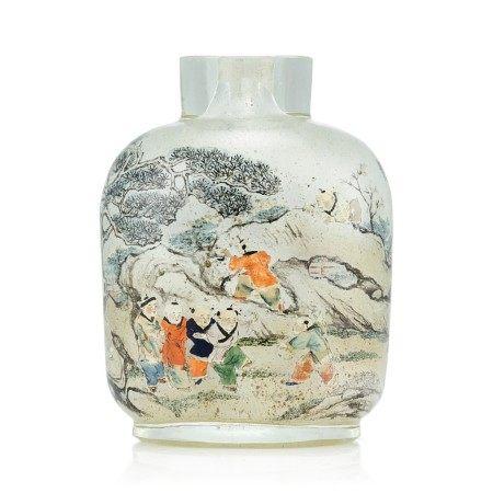 An Inscribed Inside-Painted Glass 'Wen Yanbo' Snuff Bottle By Meng Zishou, Dated Xinhai Year, Corresponding to 1911   辛亥(1911年) 孟子受作玻璃內畫文彥博灌水浮球圖鼻煙壺