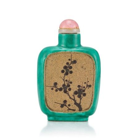 An Yixing Slip-Decorated Snuff Bottle Liangming Tang Zhang Hall Mark, Qing Dynasty, 19th Century   清十九世紀 宜興紫砂堆料加彩梅花山水鼻煙壺 《兩銘堂張》款