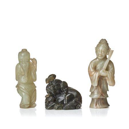 The nephrite figurines, China, circa 1900.